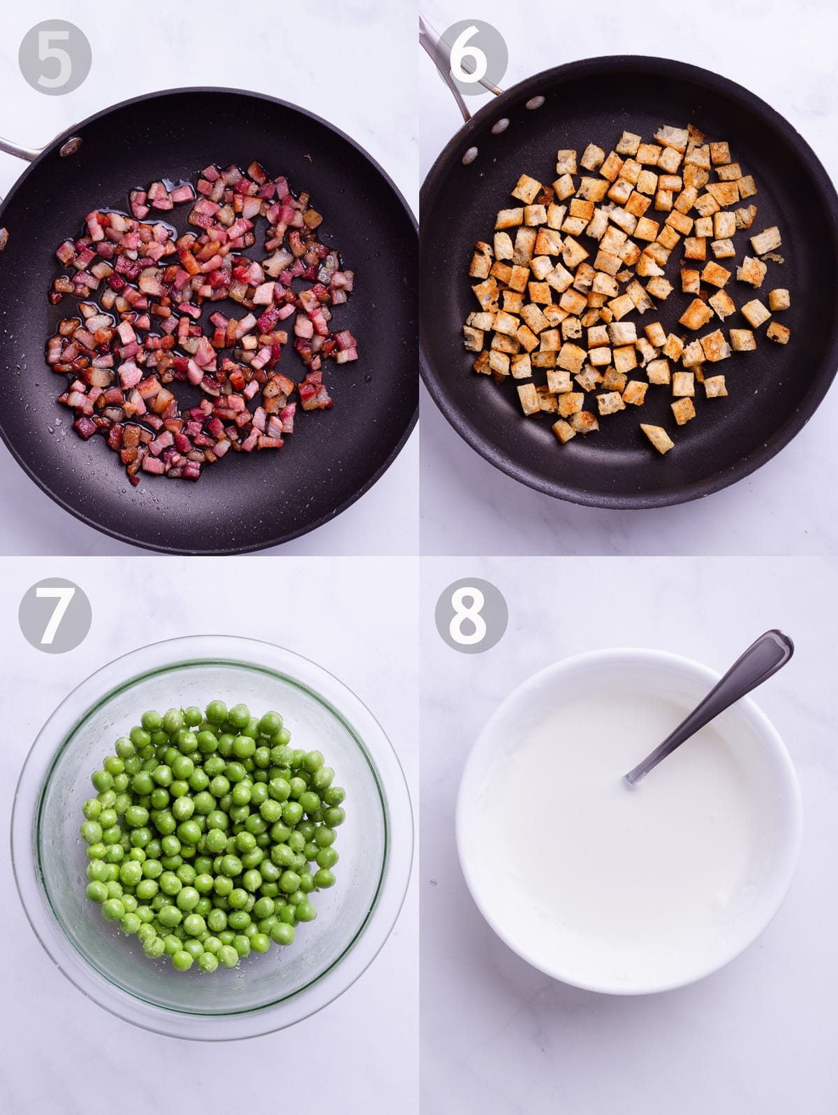 Side-by-side photos of sautéed pancetta, croutons in a pan, a bowl of green peas and a bowl of thinned out yogurt for the toppings.