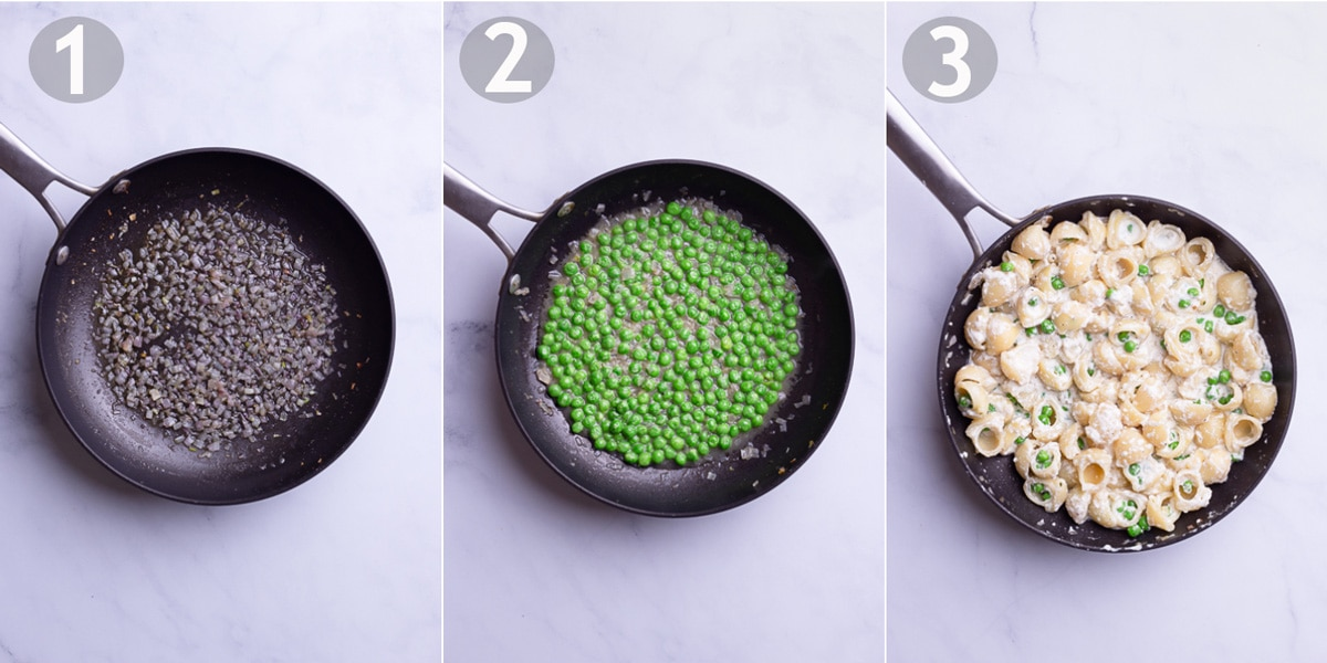 Steps to make pasta including sautéing shallot, adding peas and adding pasta and ricotta cheese.