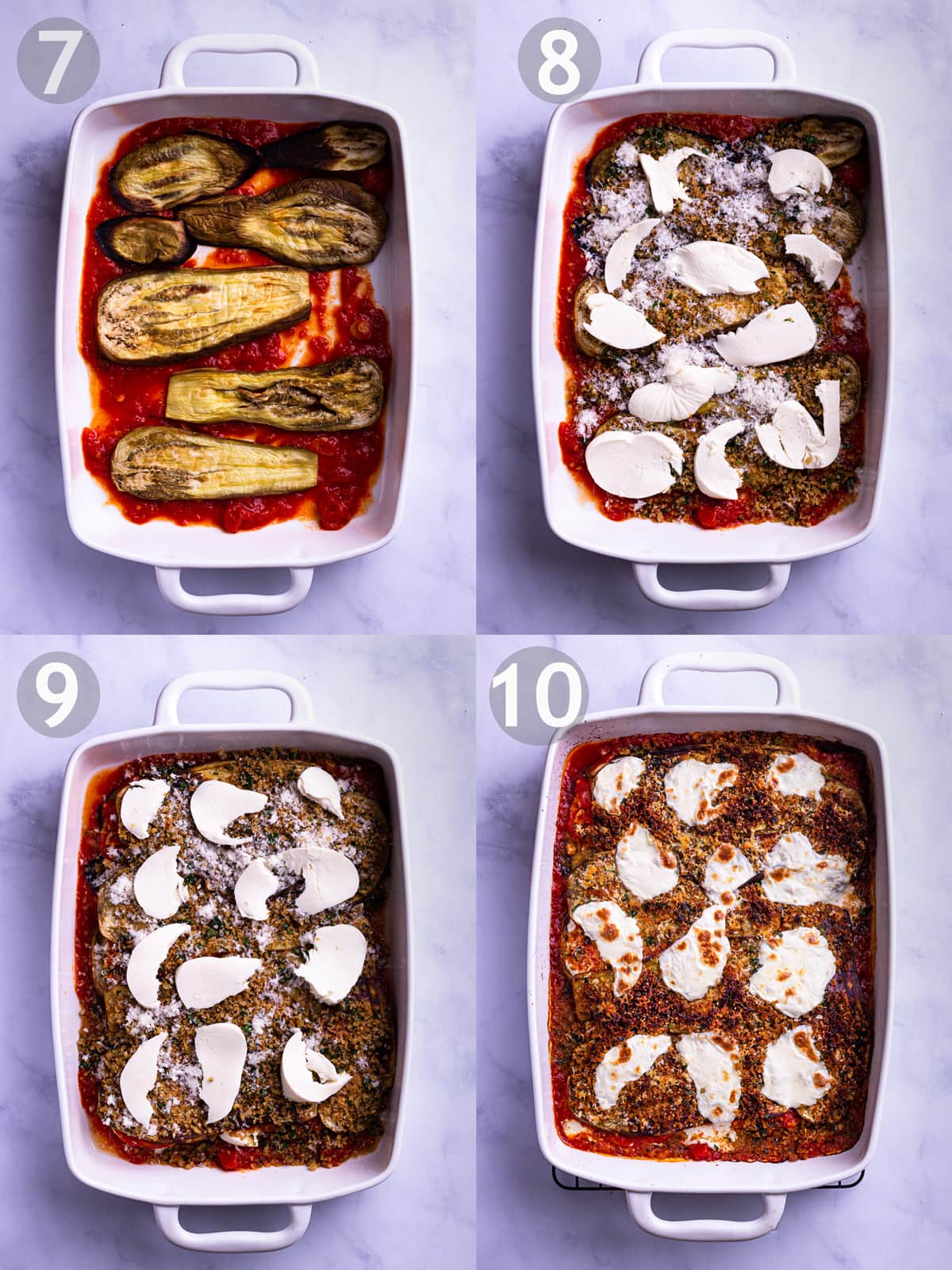 Overhead view of 4 side-by-side pictures showing steps of layering eggplant parm.