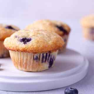 Straight on shot of a plate of blueberry muffins.