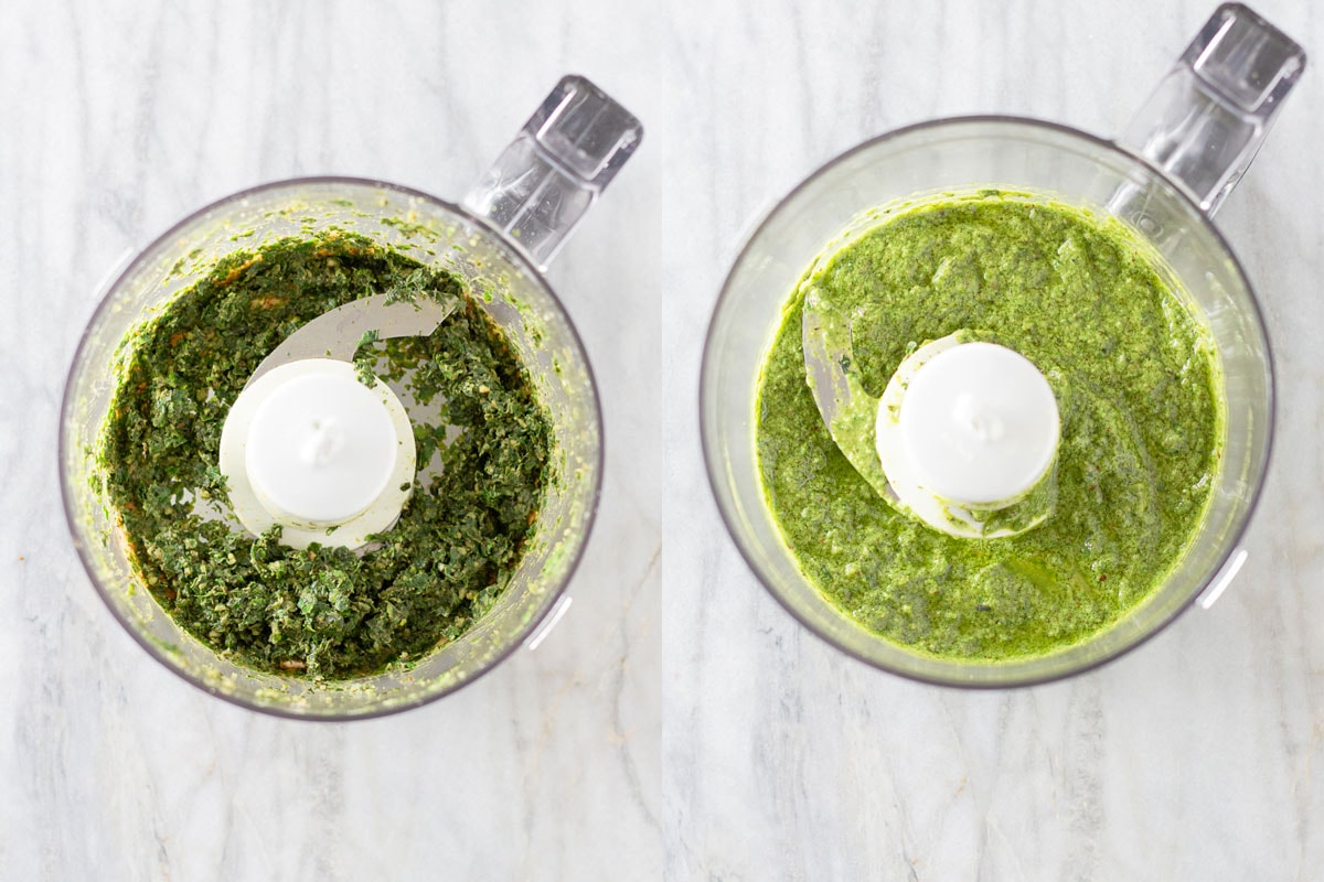 Steps to make pesto in a food processer side by side.