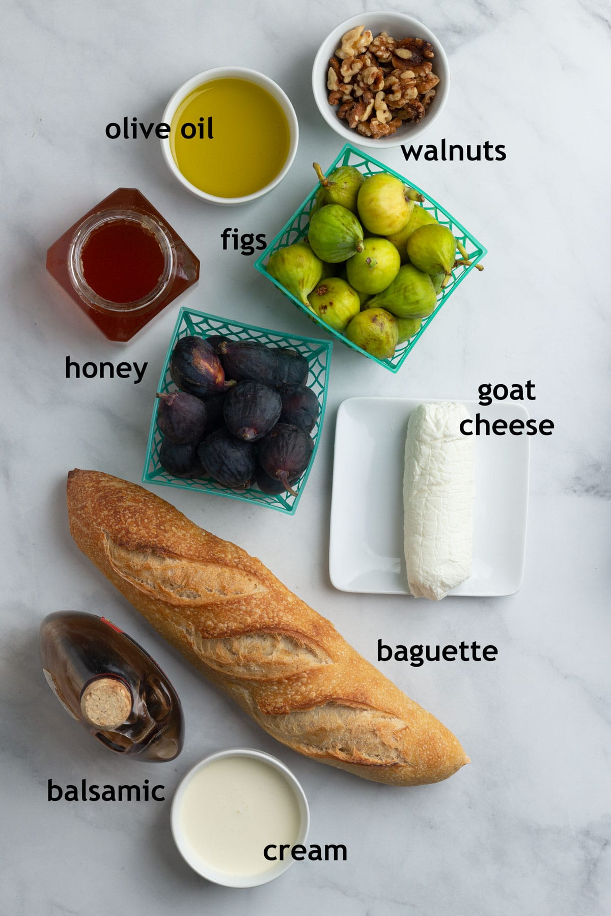 Ingredients, including baguette bread, goat cheese, cream, figs, walnuts, honey and aged balsamic vinegar.