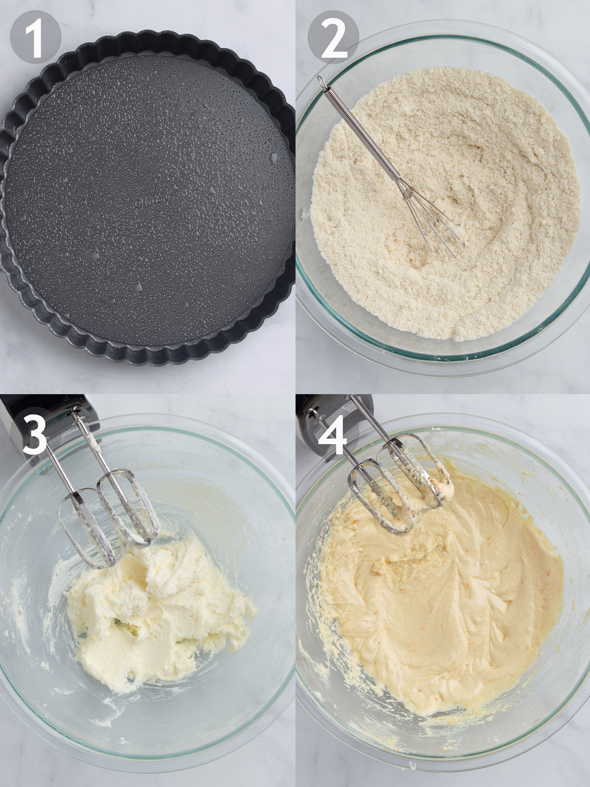 Cake steps 1-4 including greasing tart pan, whisking dry ingredients, and creaming butter, sugar and eggs.