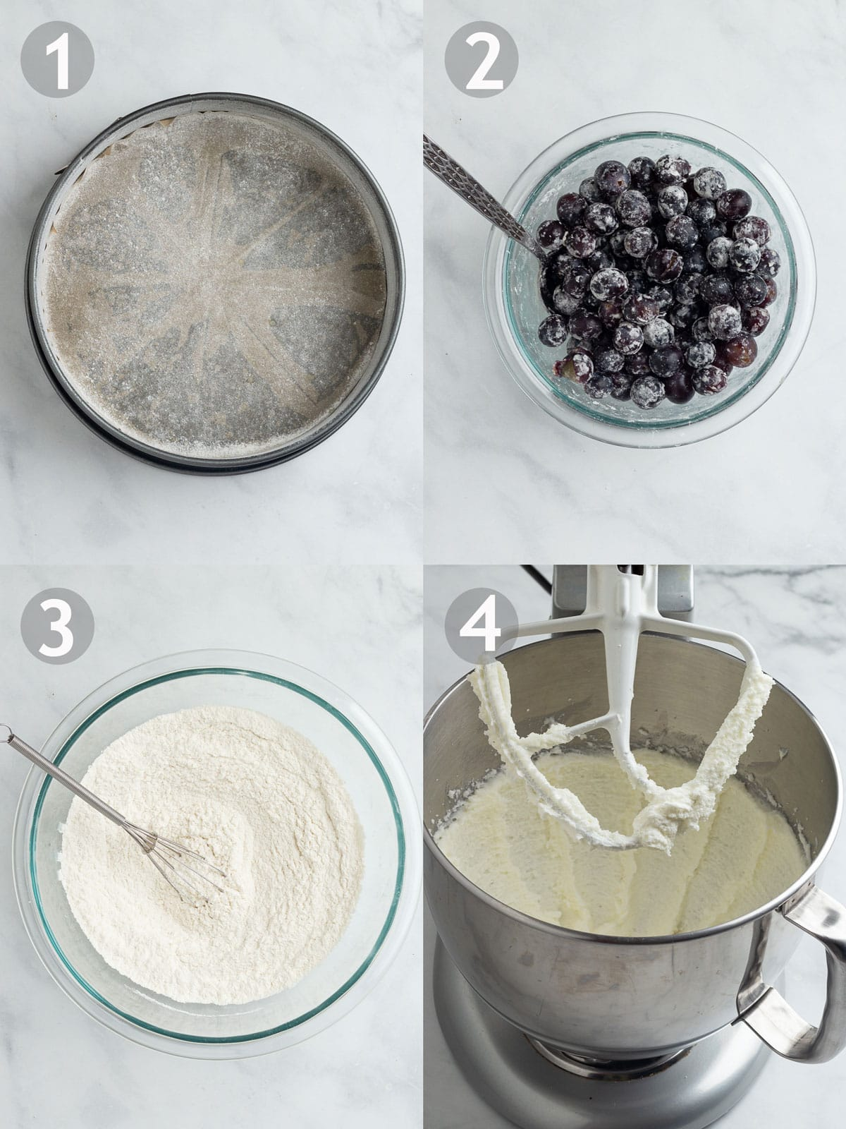 Recipe Steps, 1-4 including lining the pan, mixing the dry ingredients and creaming the butter and sugar together.