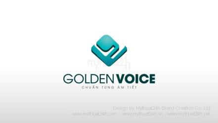 Thiet ke logo Golden Voice