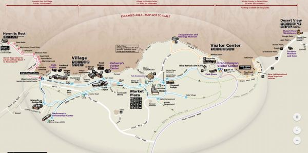 Use this map to explore the south rim of Grand Canyon