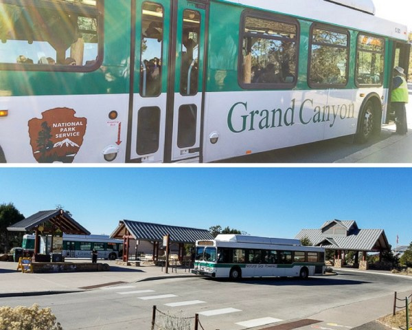 Shuttle buses in Grand Canyon to see the park