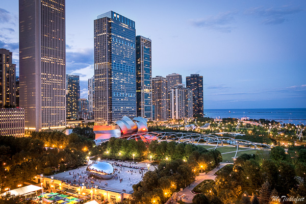 Cindy's rooftop provides a unique view of Chicago downtown. An aerial view of the Bean (aka Cloud Gate) and Jay Pritzker Pavilion