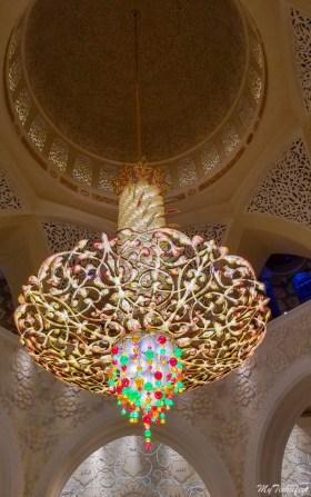 Swarovski studded central Chandelier inside Grand Mosque in Abu Dhabi