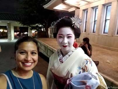 A selfie with Geisha in Kyoto, Japan after the dance performance