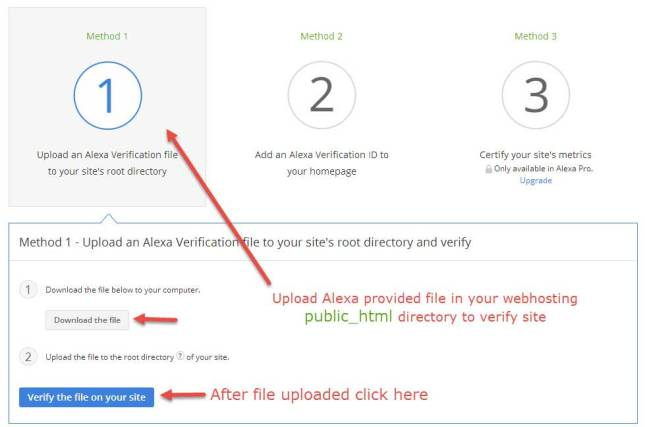 Claim WP Blog by Uploading Alexa File