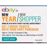 (New Users) Get 2 Movie Tickets on First Purchase From Ebay