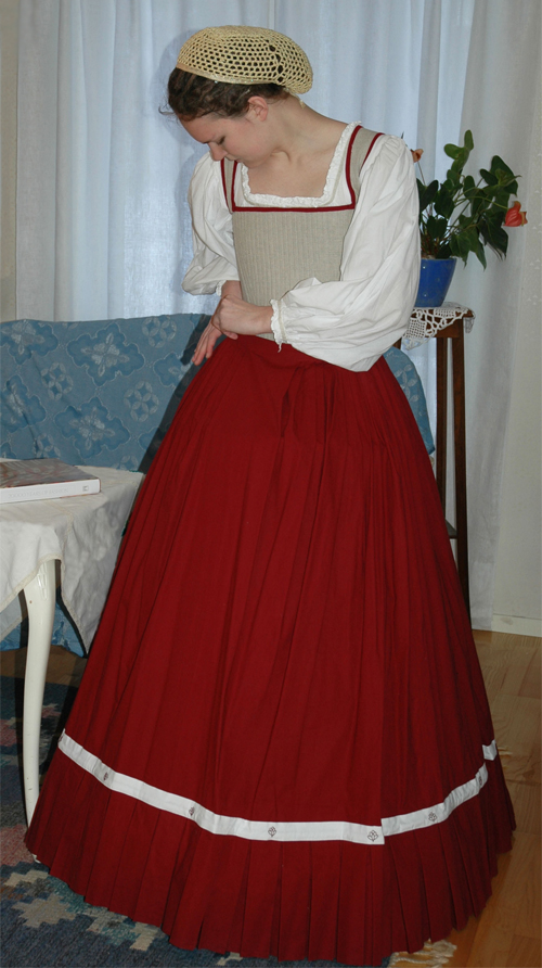Underkläder, dam. 1500-tal. Särk, underkjolsstomme, underkjol och korsett.