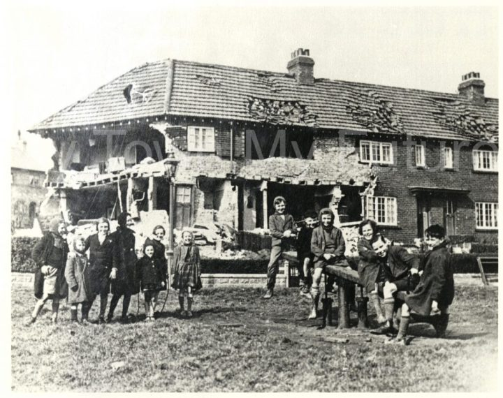 Bomb damaged buildings in Brambles Farm (1941)