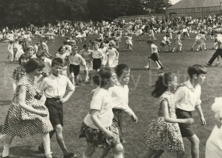 Stewart Park -School Children dancing supervised by Dorothy Davidge, 24th June 1966