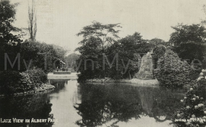 Albert Park - Lake View, 1908 - Taken from Grocers Asoc. Annual Conference - Official Guide Jordisons's - Evening Gazette