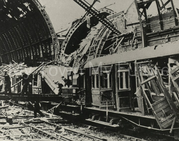 Wrecked Carriage Middlsbrough Railway Station After Raid of 3rd August 1942