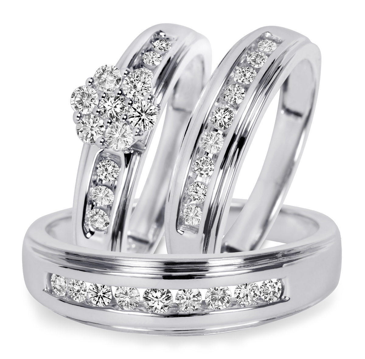 34 CT TW Diamond Trio Matching Wedding Ring Set 14K