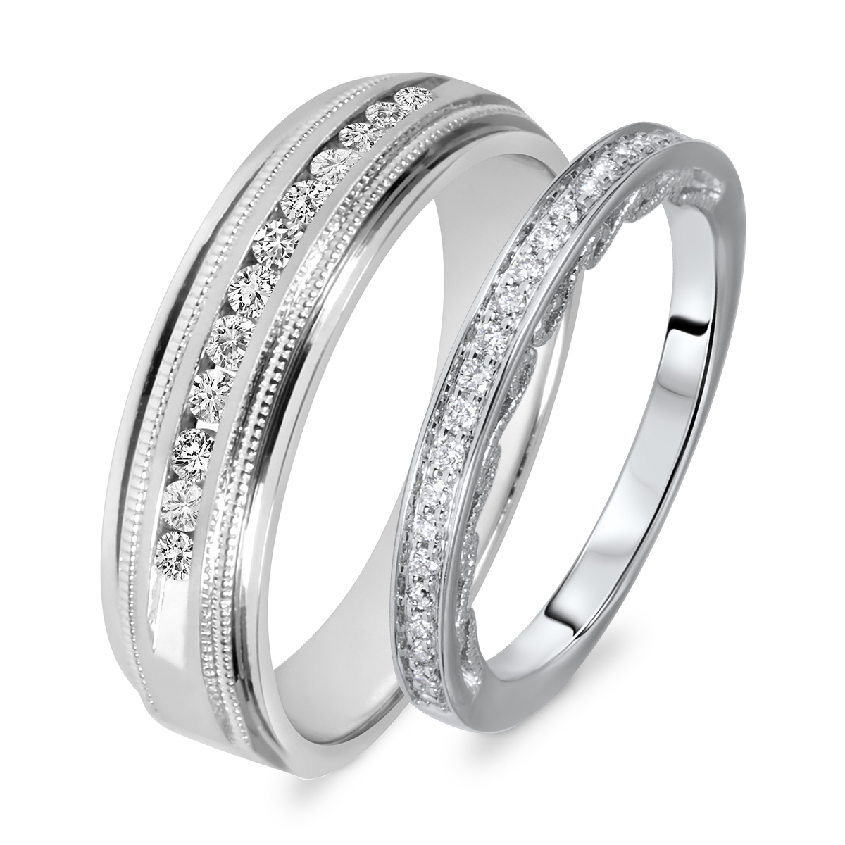 3 8 carat t w round cut diamond his and hers wedding band set 14k white gold