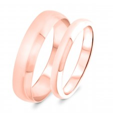Traditional His and Hers Matching Ring Sets Wedding Band