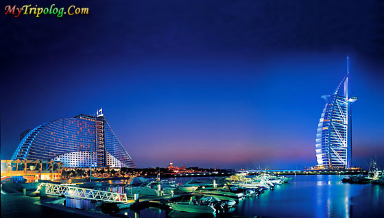 jumeirah beach hotel and burj al arab hotel in dubai,at ngiht,dubai,burj al arab,jumeirah hotel,uae
