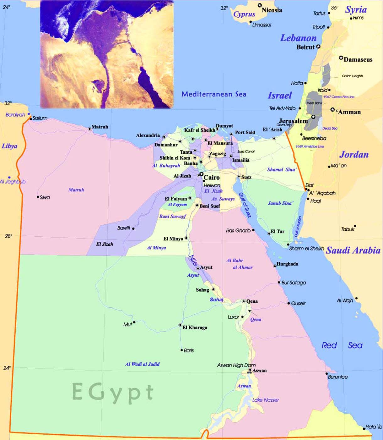 Large Size Political Map Of Egypt Travel Around The