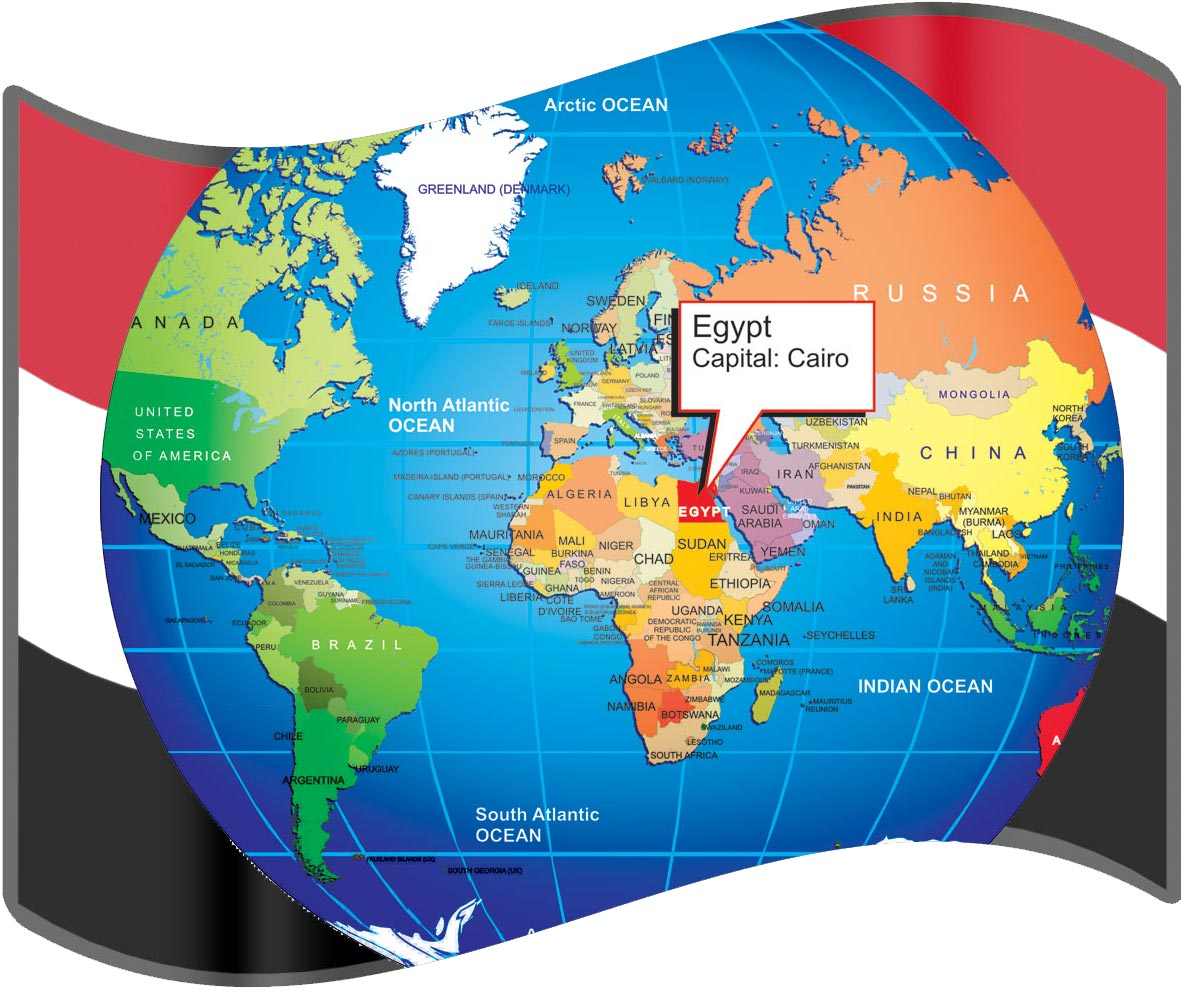 Large Size Egyptian Flag And Map For Travelers Travel