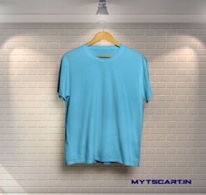 sky blue plain t shirt