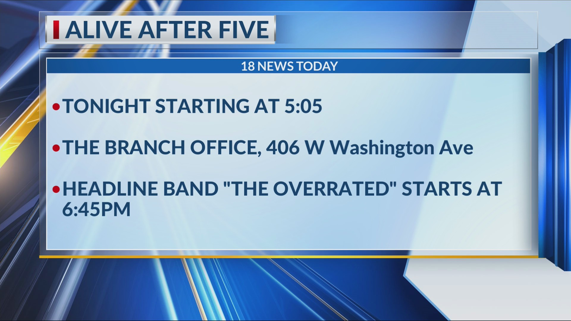 HAPPENING TODAY: First-time venue for Alive After Five
