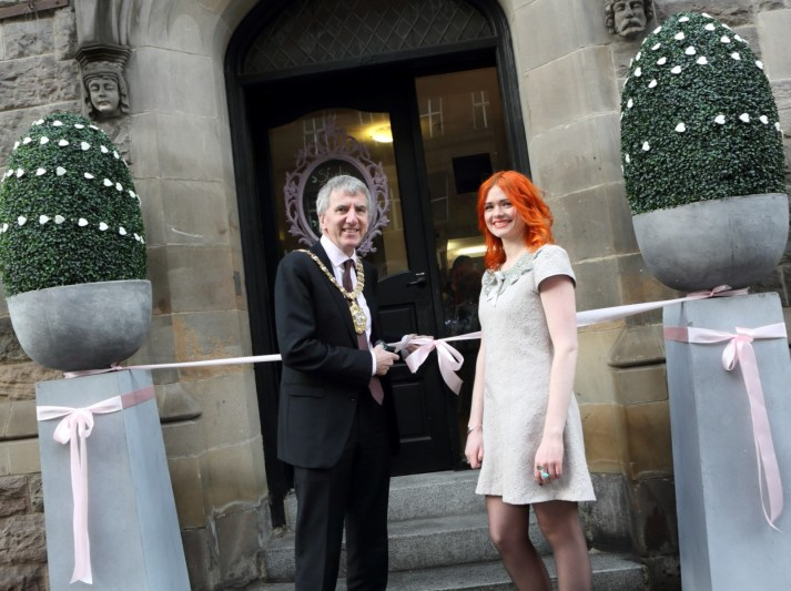 Máirtín Ó Muilleoir & Madeleine Beattie at the official opening.