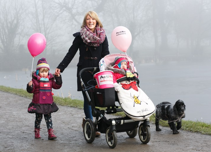 Hillsborough mum Claire Harrison and her two daughters Beatrix (4) and Pippa-Rose (18 months) and dog Poppy get ready for the Action Cancer Mothers' Day Walk, on Saturday 14 March 2015 in Hillsborough Forest Park. To take part email sjcassells@actioncancer.org, call Tel: 029 9080 3379 or visit www.actioncancer.org