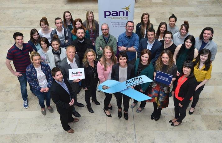 Ulster University students joined publicity industry experts and the team from Action Cancer to launch the PANI Education Programme 2015, whereby undergraduates in marketing and design are given a live, competitive advertising brief from a leading charity and mentored by advertising agencies from across the publicity industry. The winning team's pitch has its advertisements placed across Northern Ireland in September. Pictured centre is PANI Chair Nuala Meenehan.