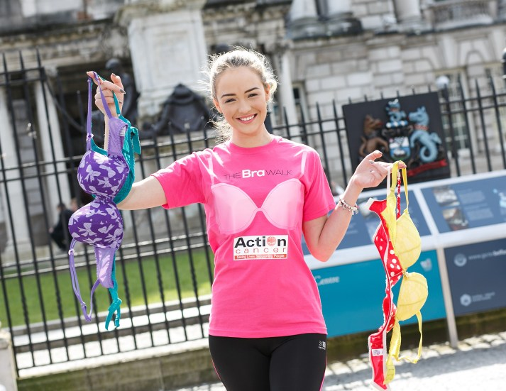 CMPR model Ashleigh Coyle shows her support as she launches The Bra Walk, Action Cancer's 10k walk in aid of the charity's life-saving breast screening service, at Belfast City Hall on Friday 05 June, supported by SuperValu and Dowds Kitchen and Bedrooms (DKB). Action Cancer urges you to bring your 'best' bra, your walking shoes and bosom buddies and walk 10k this June! To register, visit www.actioncancer.org, contact Action Cancer on 028 9080 3344, or email thebrawalk@actioncancer.org