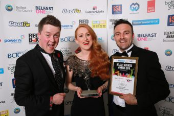 Rachel Lively from Foster & Sons Removal was awarded Best Employee award at the Belfast Business Awards. She is pictured with Chris Suitor, Suitor Menswear who was the category sponsor, alongside Paul Foster, Foster & Sons Removal