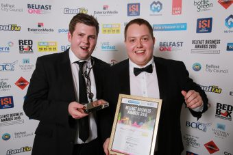 Young Business Person of the Year winner is Matthew Large pictured with Johnny McCausland from Value Cabs who were category sponsor