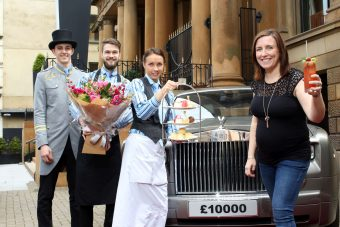 Picture by Darren Kidd / Press Eye. Prize Winner Kerri and Staff from The Merchant Hotel