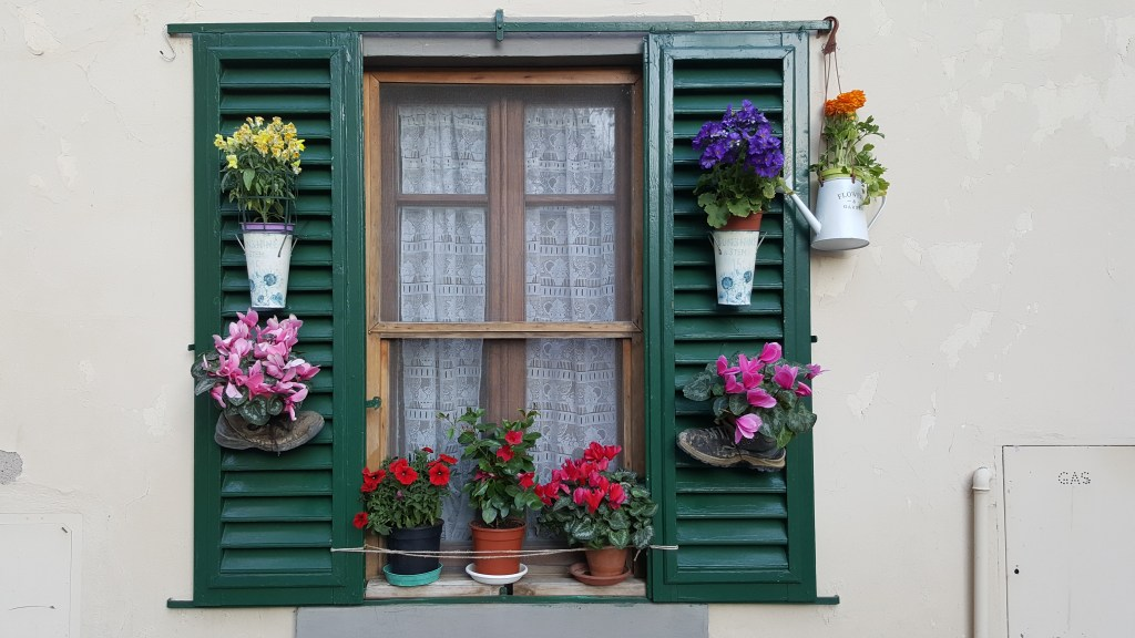 Tuscany, window, flowers, Italy, Greve