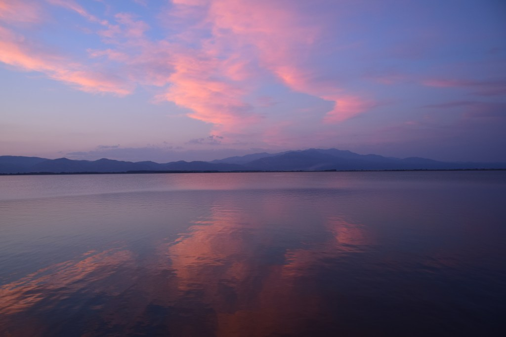 Vistonida lake, Thrace, Greece, lake, birdwatching, pink clouds, reflections, road trip, sunset, colors