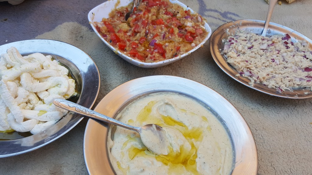 Sinai trail, bedouins, lunch, picnic, salad, tuna, tomatoes, eggplant, cheese
