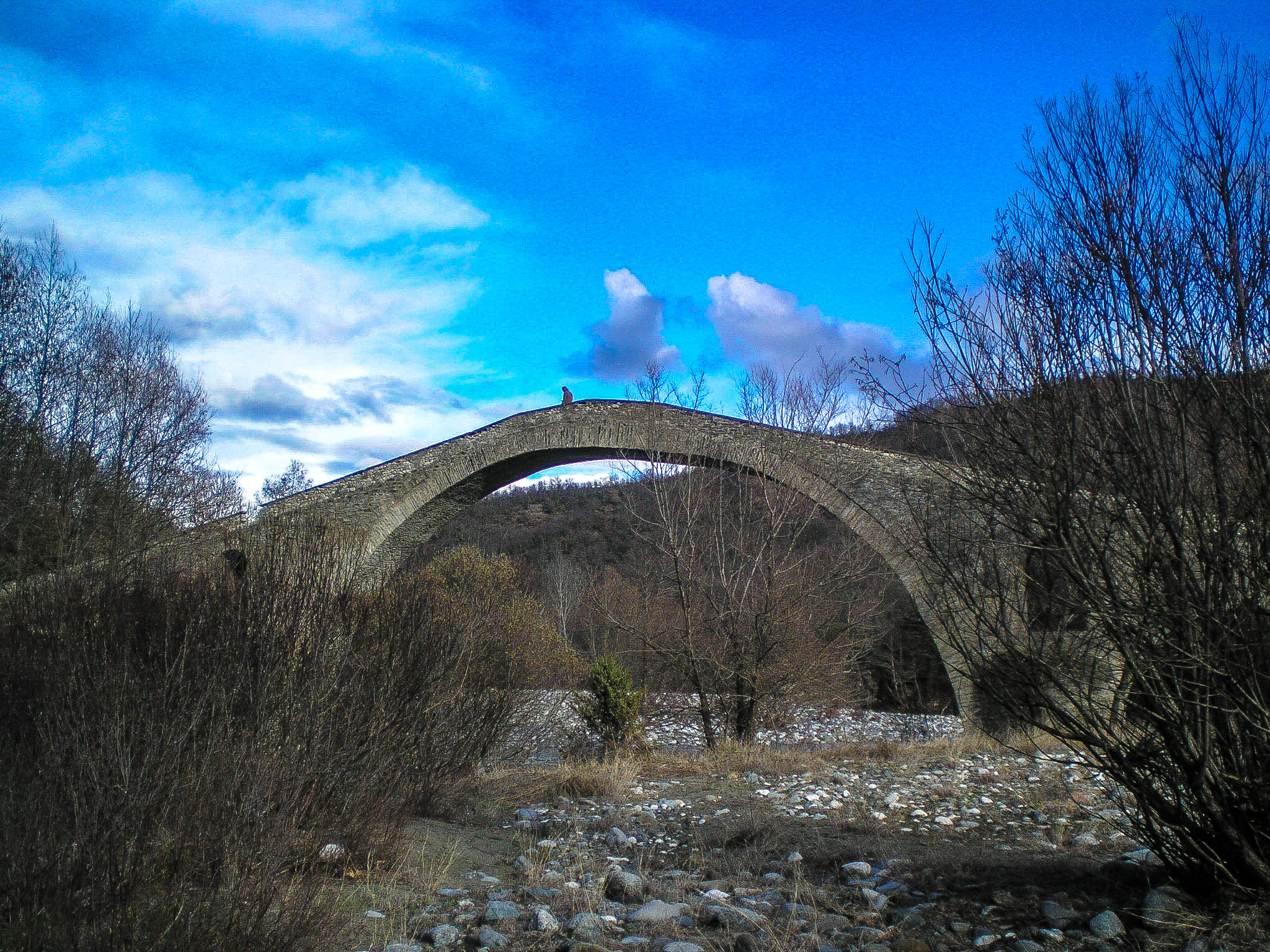 Hiking, river, stone bridge