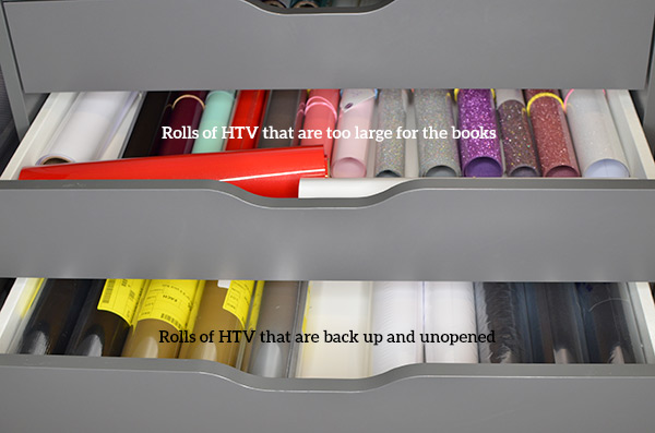 gray drawers with rolls of vinyl and words labeling them.