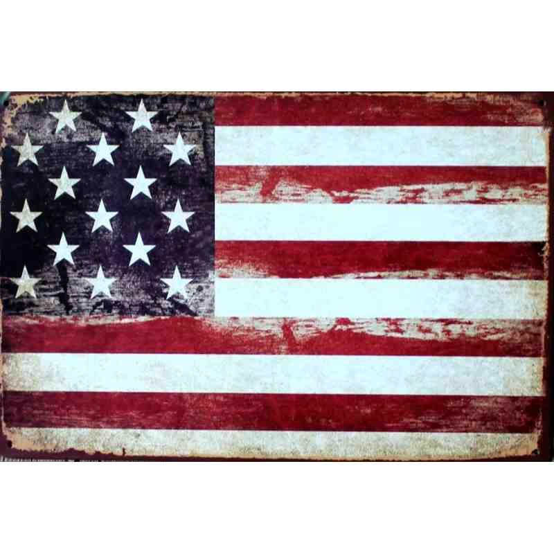 plaque metal deco vintage drapeau americain 20 x 30