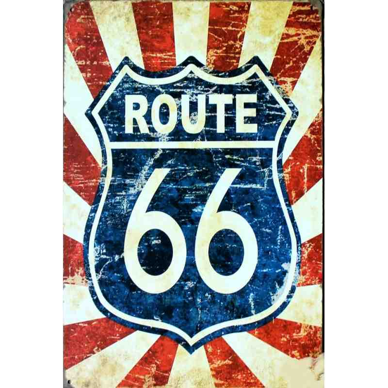 route 66 plaque metal americaine decorative