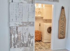 My Laundry Room Update with DIY Barn Door and Painted Floor Tutorial