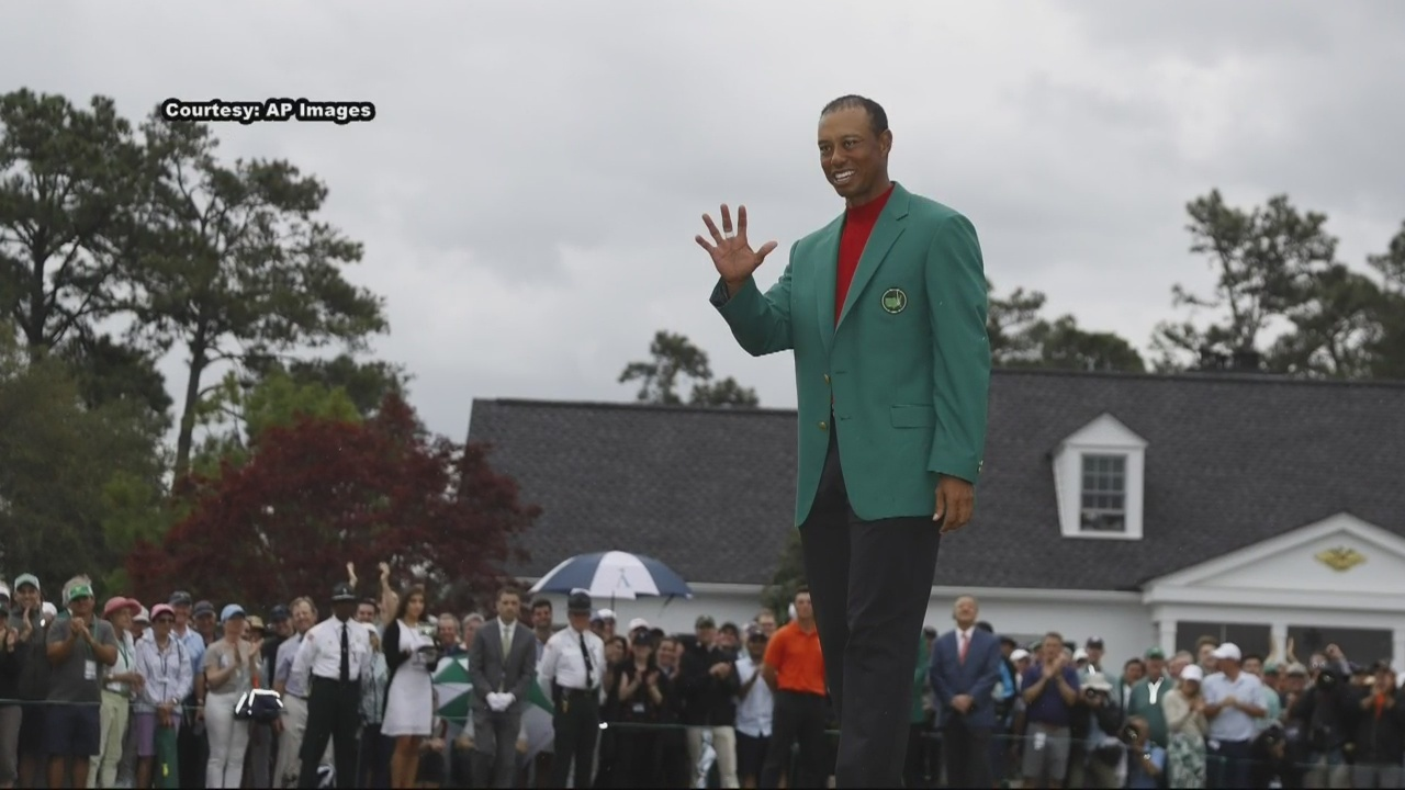 Chasing after the green jacket.
