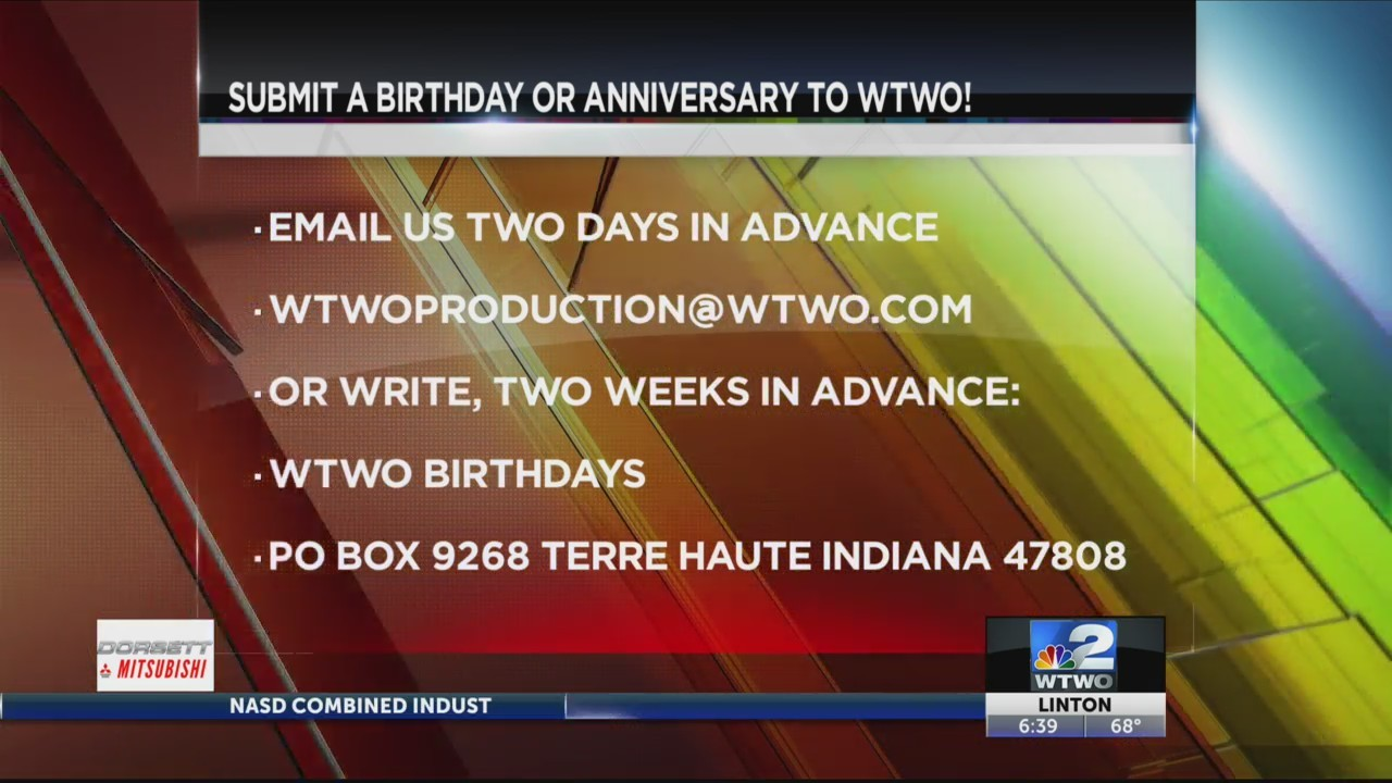 WTWO Today BIRTHDAYS AND ANNIVERSARIES 5/17-5/19