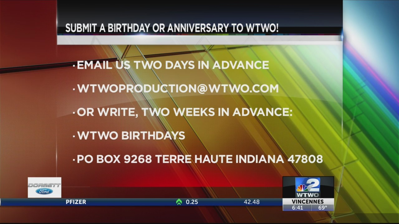 WTWO Today BIRTHDAYS & ANNIVERSARIES