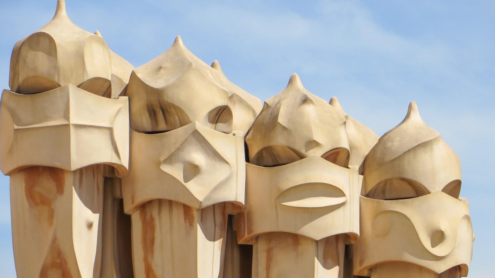 La Pedrera, the Origins - nighttime show at Antoni Gaudi's Casa Mila in Barcelona, Spain