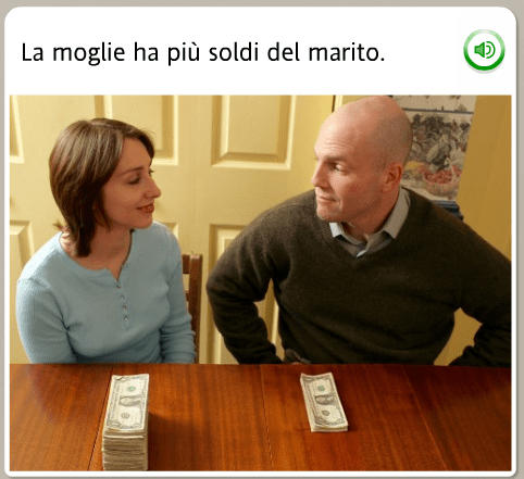 The funniest Rosetta Stone stock images: Italian, the wife has more money than the husband