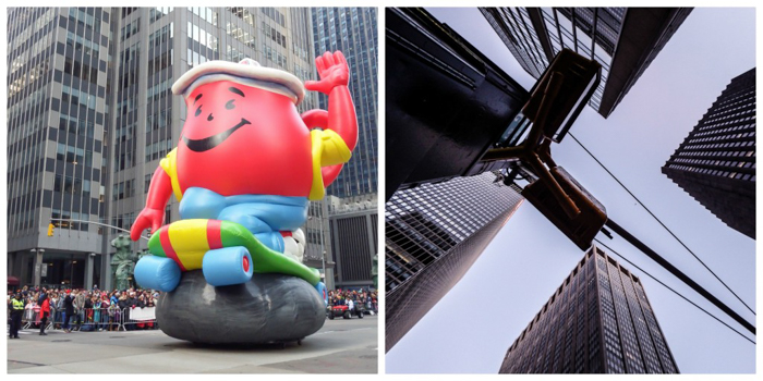 Do This, Not That // Macy's Thanksgiving Day Parade   Koolaid Man and buildings at the Macy's Thanksgiving Day Parade in New York City
